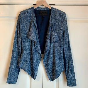 Blue Blazer Style Zip-up Jacket with Ruffle